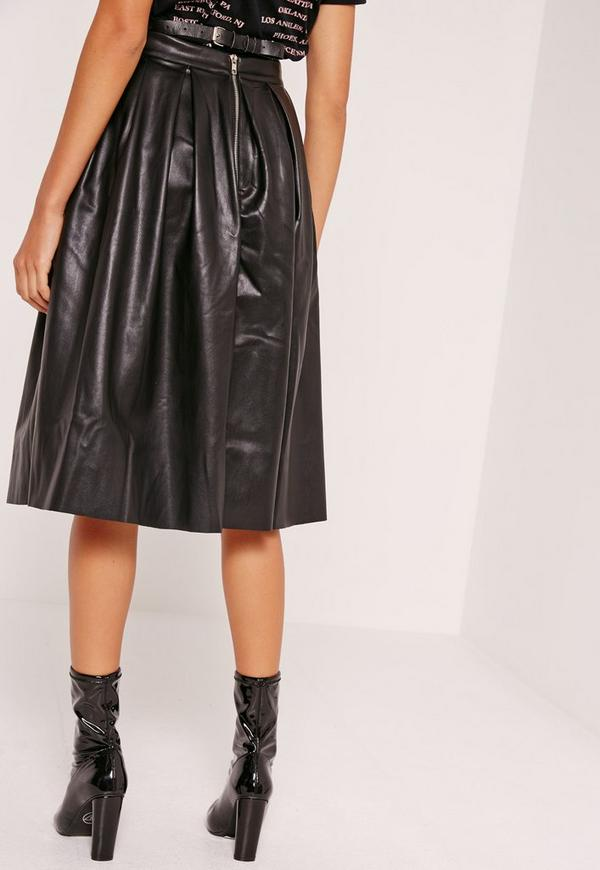premium faux leather pleated midi skirt black missguided