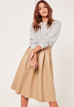 Nude Premium Faux Leather Pleated Full Midi Skirt