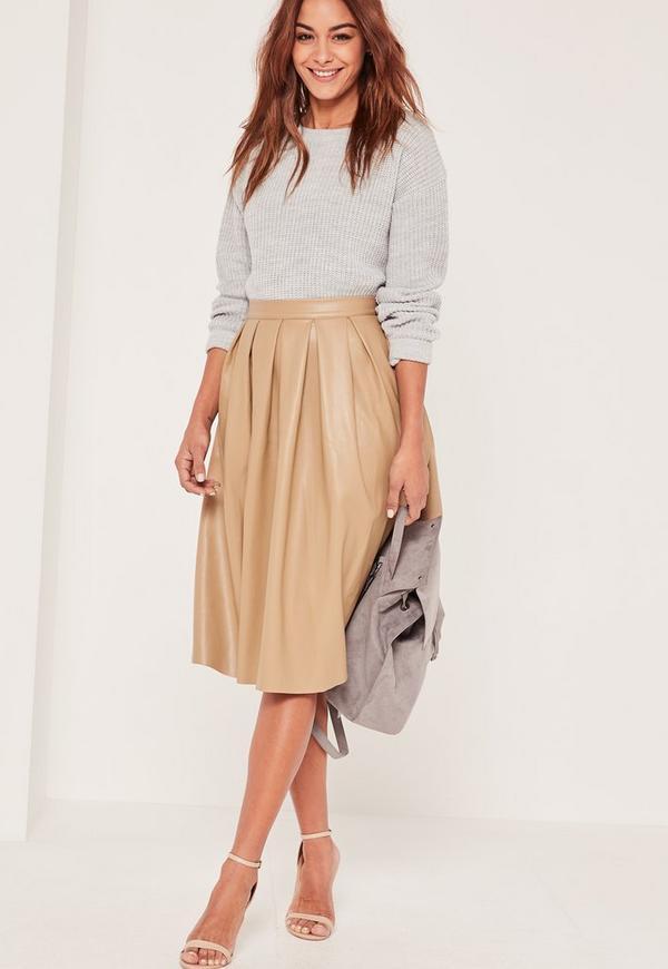 Nude Premium Faux Leather Pleated Full Midi Skirt   Missguided