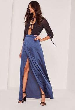 Blue Satin Split Front Wrap Maxi Skirt