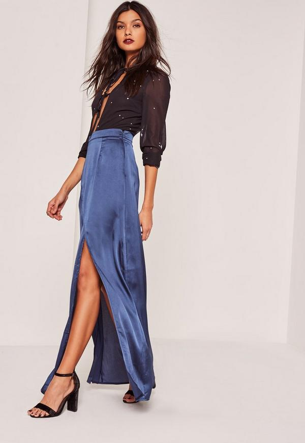 blue satin split front wrap maxi skirt missguided