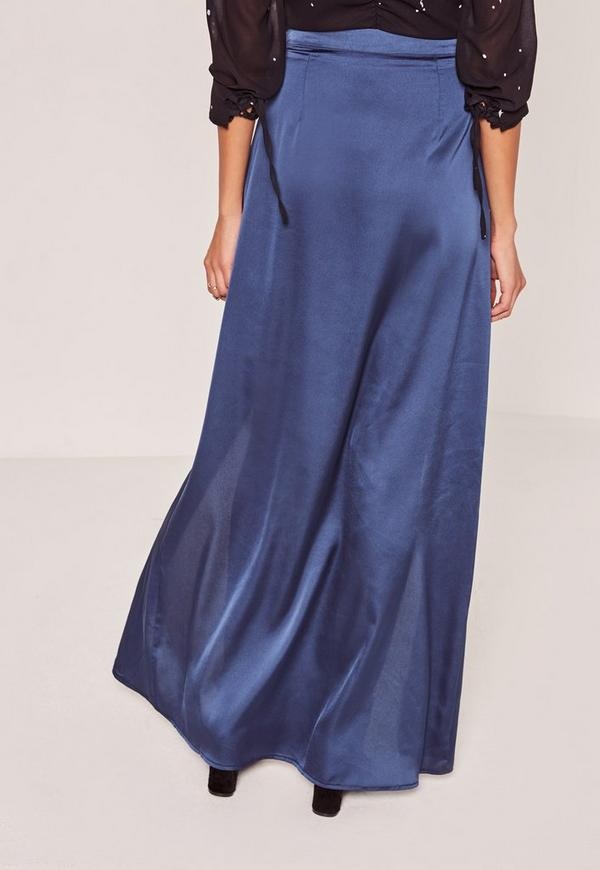 blue satin split front wrap maxi skirt missguided