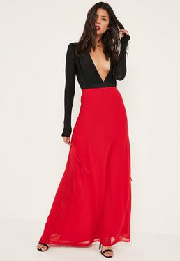 Red Lace Up Side Maxi Skirt