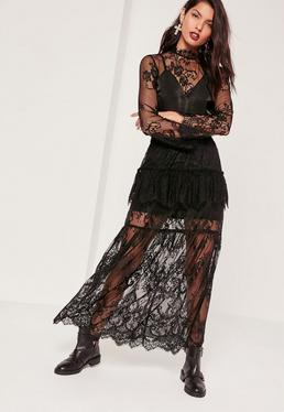 Lace Frill Detail Maxi Skirt Black