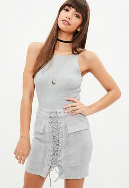 Grey Faux Suede Lace Up Front Mini Skirt