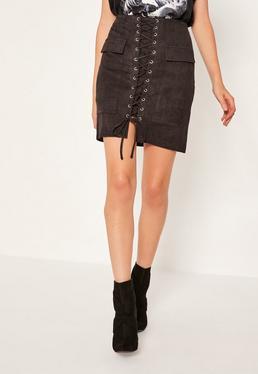Black Faux Suede Pocket Detail Lace Up Front Mini Skirt