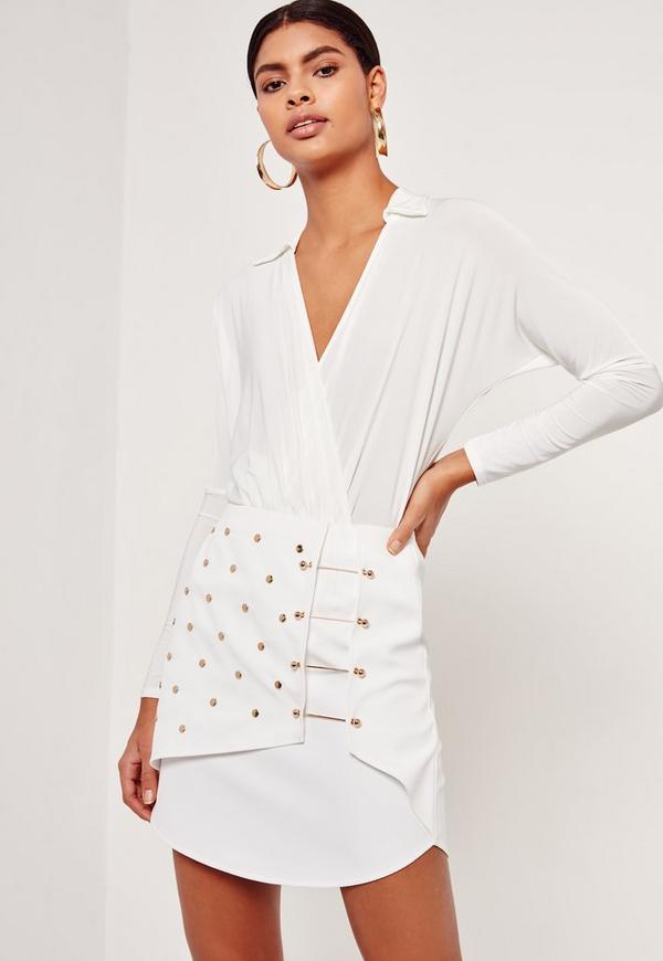 Stud & Bar Detailed Textured Mini Skirt White