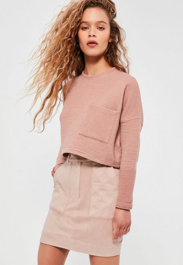 Nude Faux Suede Quilted Pocket Stud Detail Mini Skirt