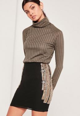 Premium Embellished Side Mini Skirt