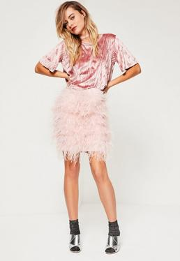 Pink All Over Feather Mini Skirt