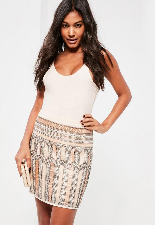 Nude Premium All Over Embellished Mini Skirt