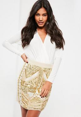 White All Over Embellished Sequin and Pearl Mini Skirt