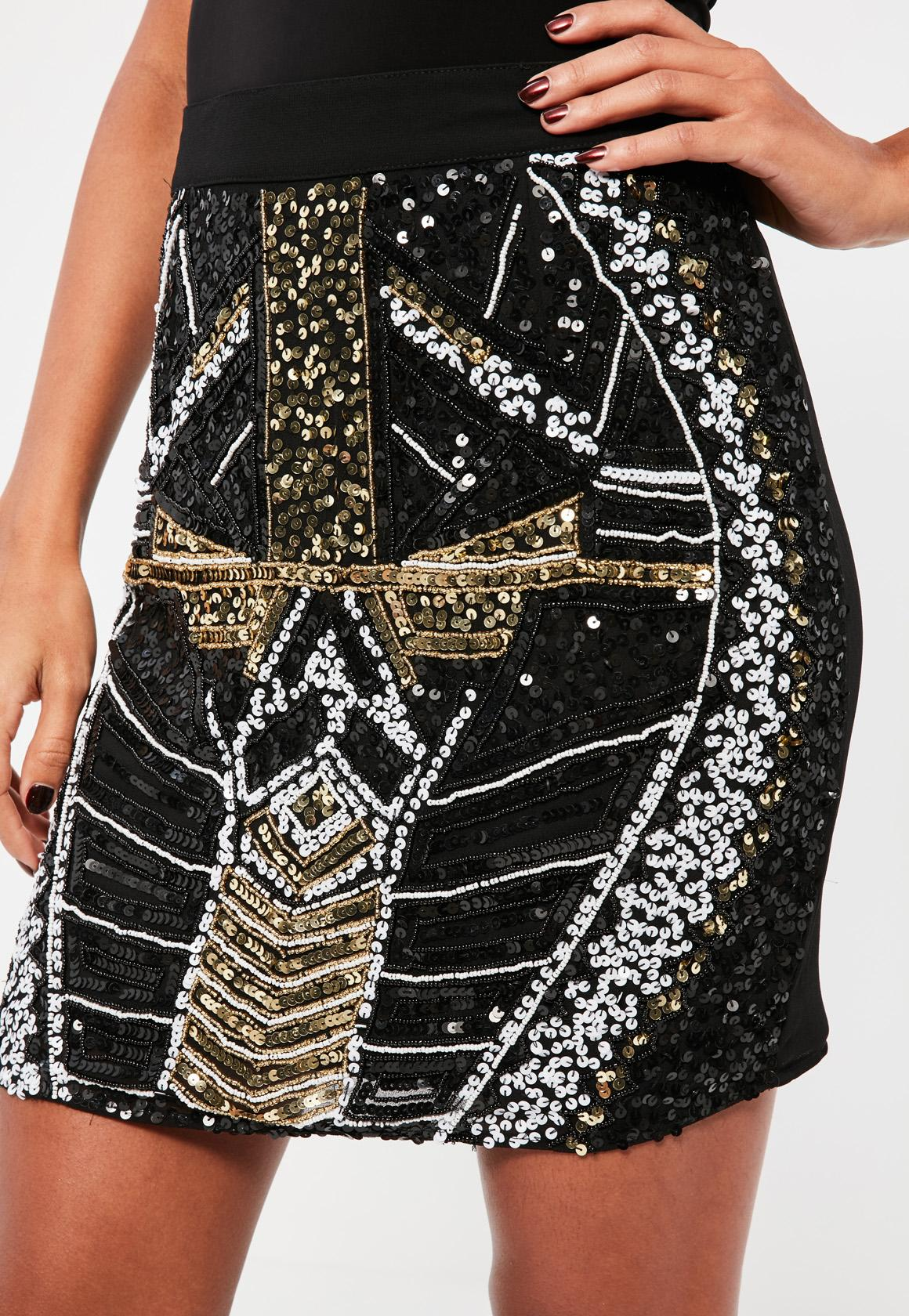 Black All Over Embellished Sequin and Pearl Mini Skirt