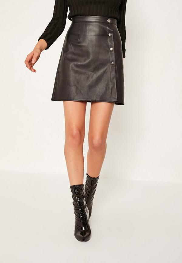 black button through faux leather mini skirt missguided