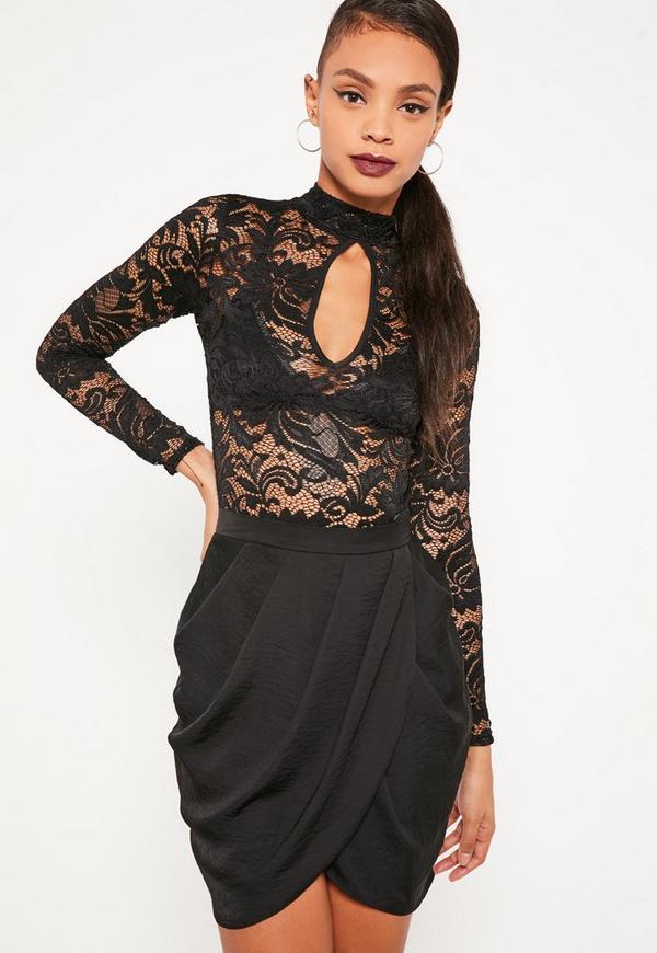 Black Gathered Front Wrap Asymmetric Mini Skirt