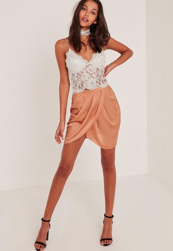 Nude Gathered Front Wrap Asymmetric Mini Skirt