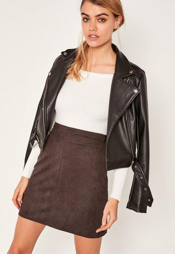 Brown Faux Suede Stitch Front A Line Mini Skirt