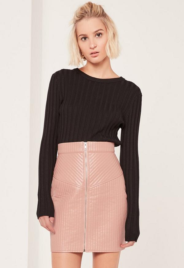 Nude Quilted Zip Through Faux Leather Mini Skirt