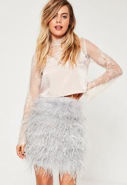 Grey All Over Feather Mini Skirt