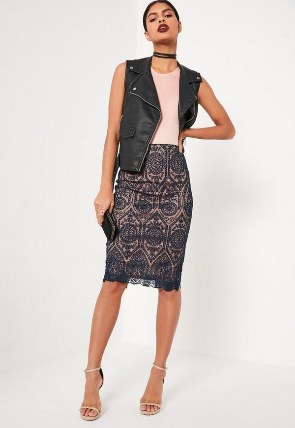 Circle Lace Midi Skirt Burgundy - Skirts - Co-Ords - Missguided