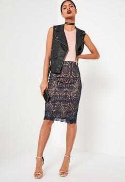 Blue Premium Embroidered Midi Skirt