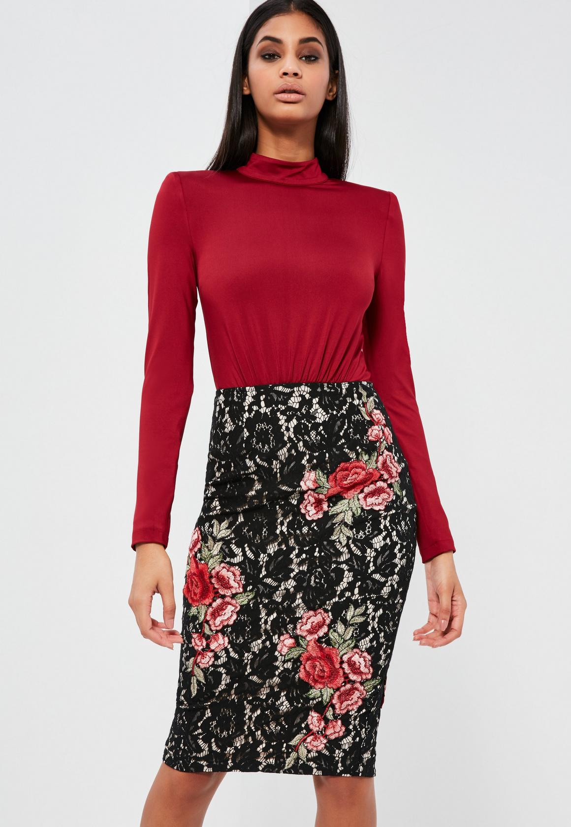 Peace   Love Black Lace Rose Pencil Skirt | Missguided