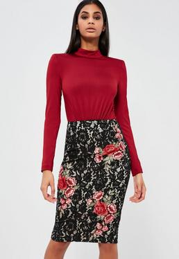 Peace + Love Black Lace Rose Pencil Skirt
