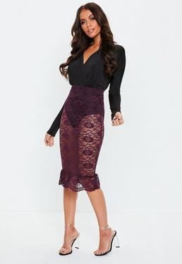 Purple Lace Midi Skirt