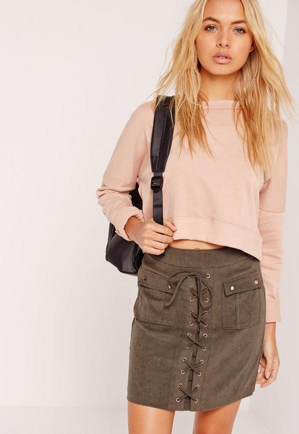 Lace Up Eyelet Pocket Skirt Khaki