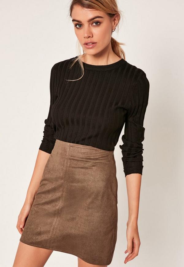 Khaki Faux Suede Stitch Front A-Line Mini Skirt
