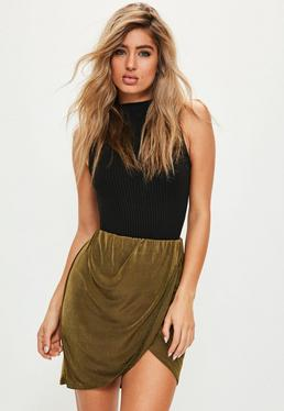 Khaki Slinky Gathered Waist Asymmetric Mini Skirt