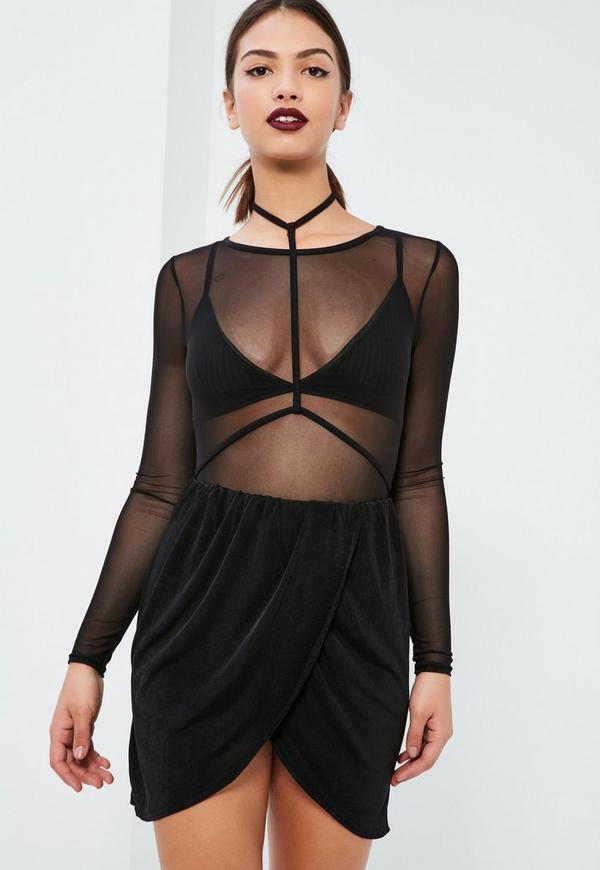 Black Slinky Gathered Waist Asymmetric Mini Skirt