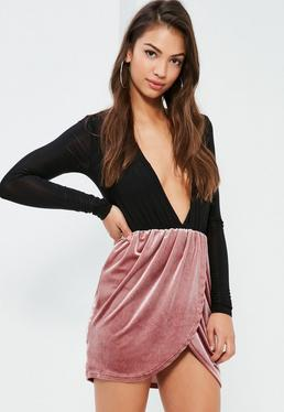 Pink Velvet Gathered Waist Asymmetric Mini Skirt