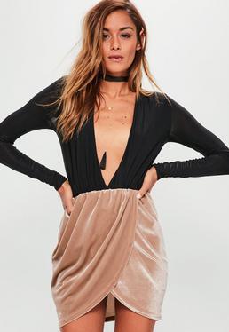 Mini-jupe bronze en velours à taille froncée