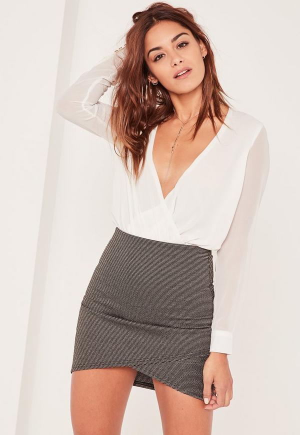 Black Glitter Textured Ribbed Mini Skirt
