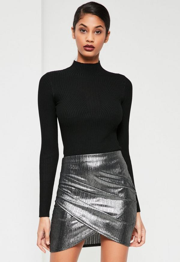 Silver Foiled Ribbed Asymmetric Skirt