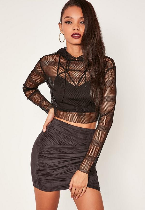 Black Gathered Faux Suede Wrap Front Mini Skirt