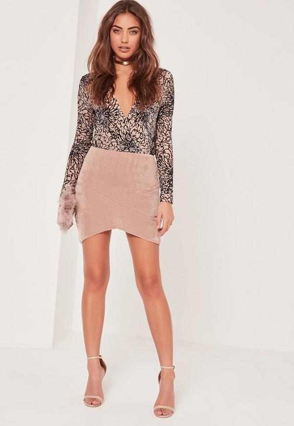 Slinky Panelled Asymmetric Mini Skirt Pink