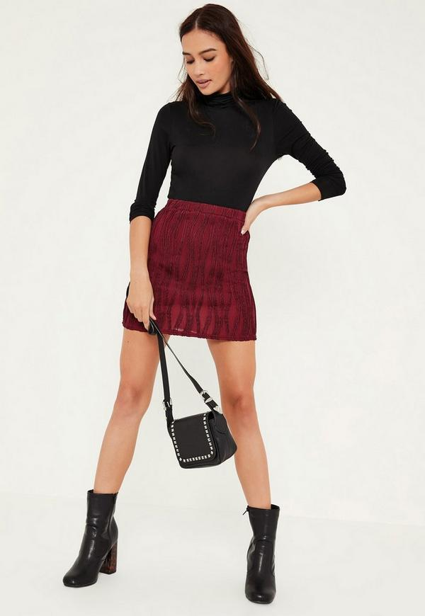 Burgundy Ripple Texture Mini Skirt