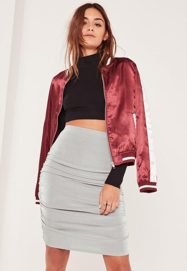 Grey Slinky Ruched Side Knee Length Skirt