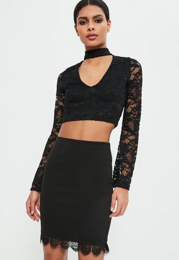 Black Jersey Crepe Lace Mini Skirt