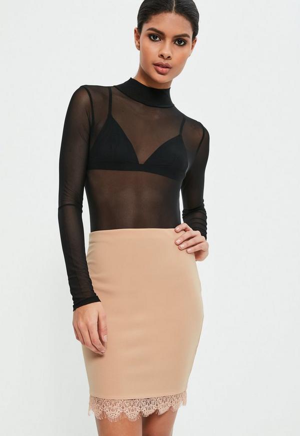 Nude Jersey Crepe Lace Mini Skirt