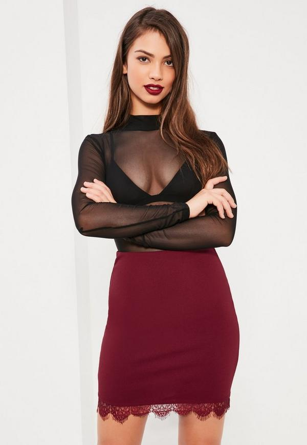 Burgundy Jersey Crepe Lace Mini Skirt