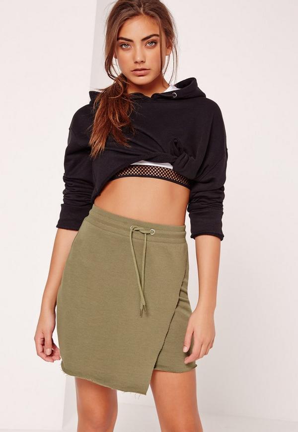 Loopback Wrap Front Tie Waist Mini Skirt Khaki
