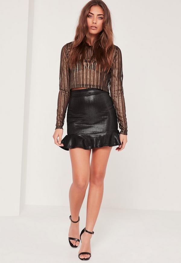 Black Frill Hem Foil Mesh Mini Skirt