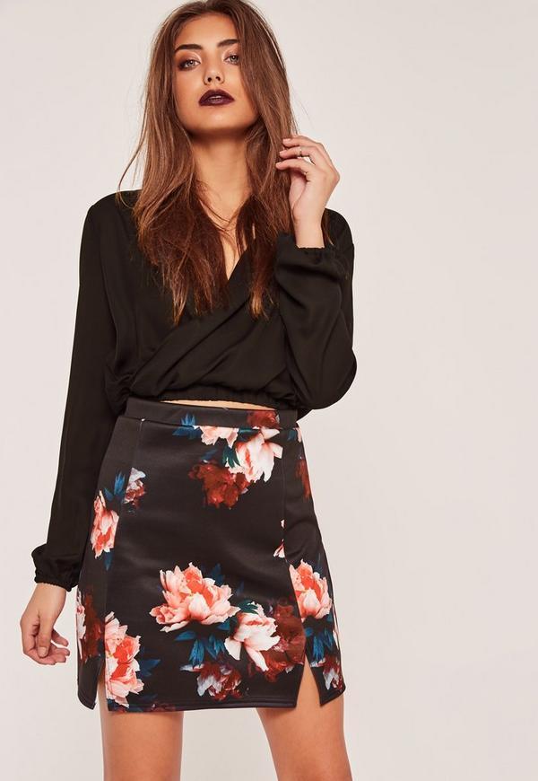 Floral Printed Split Hem Scuba Mini Skirt Red