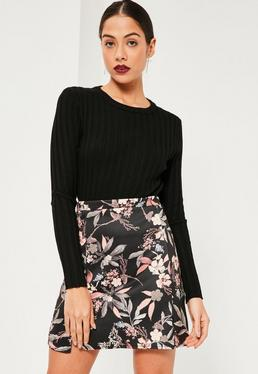 Black Floral Printed Split Hem Scuba Mini Skirt