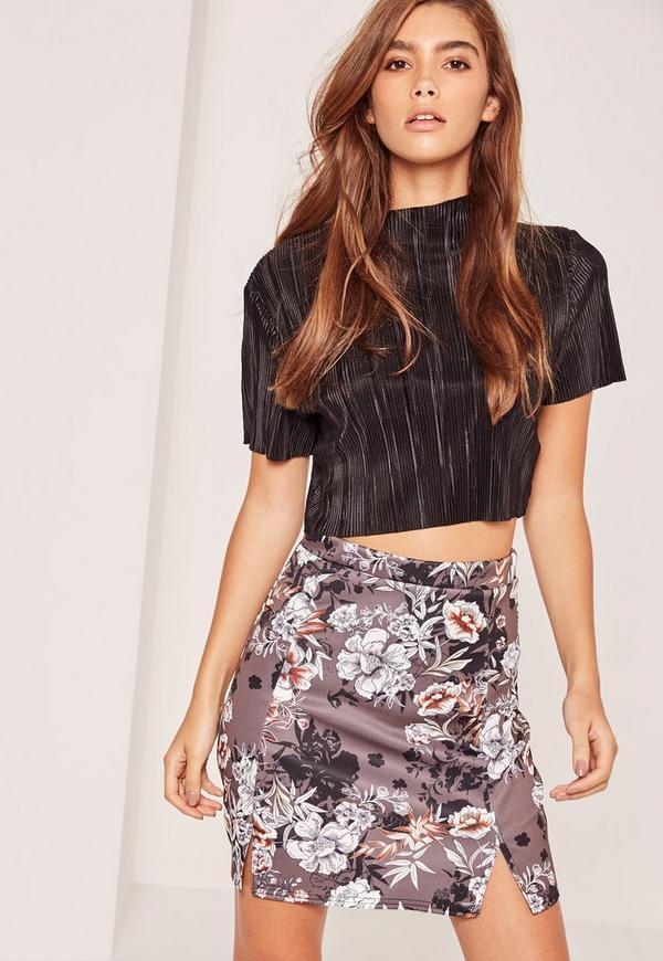 Oriental Floral Printed Split Hem Scuba Mini Skirt Grey