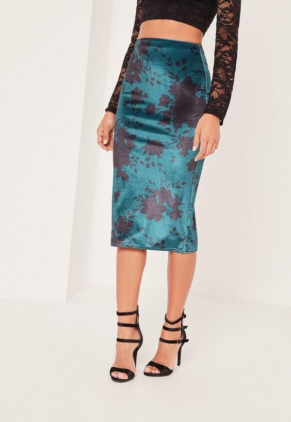 blue velvet floral printed midi skirt missguided