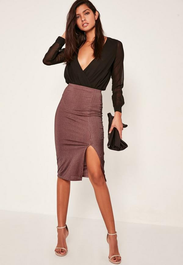 Purple Shiny Ribbed Split Front Midi Skirt